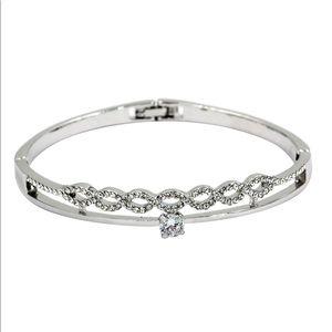 Silver disposition wave circle crystal bracelet